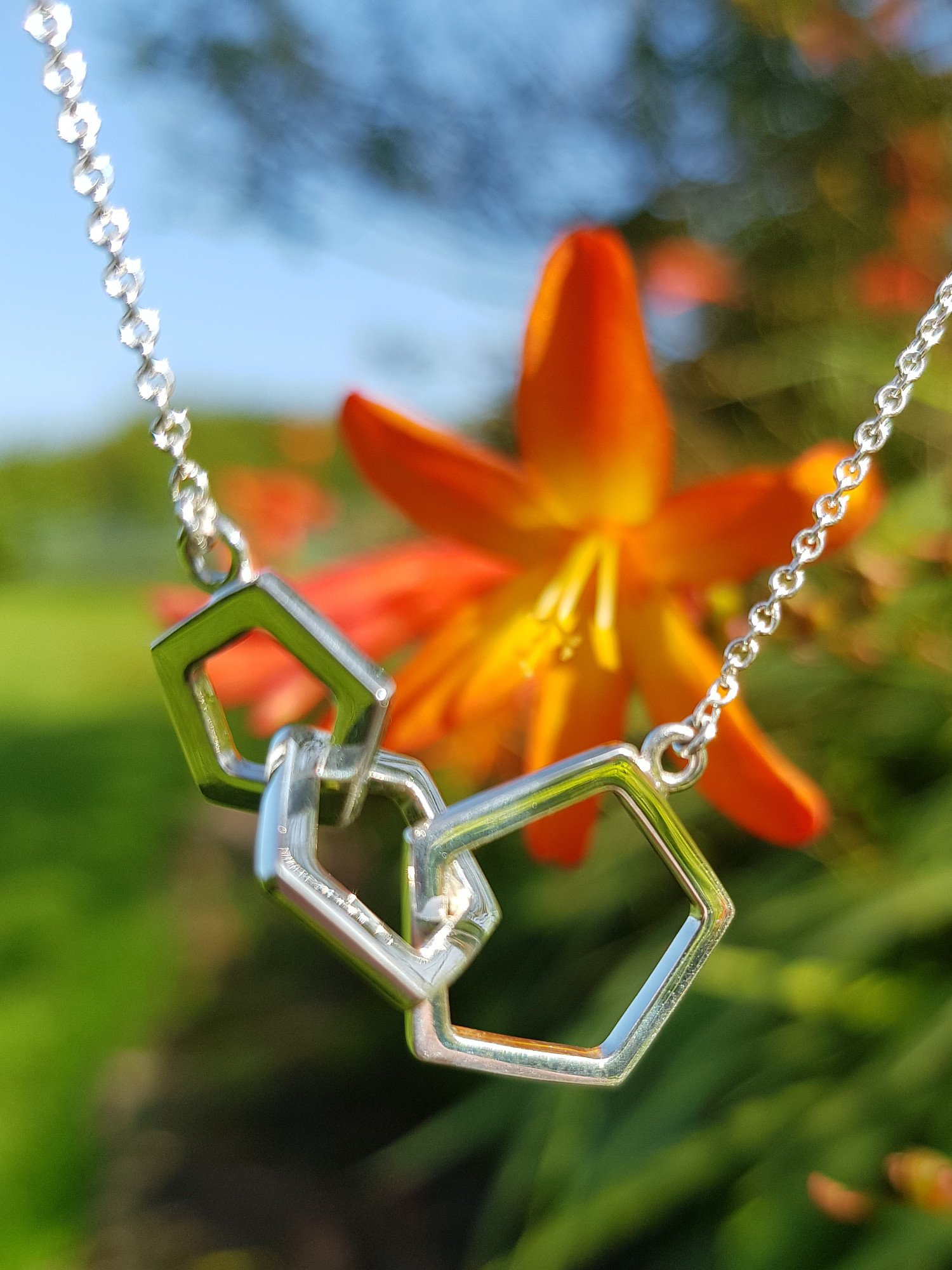 Silver, Quintette Collection, triple pentagon station necklace £42. Free UK delivery