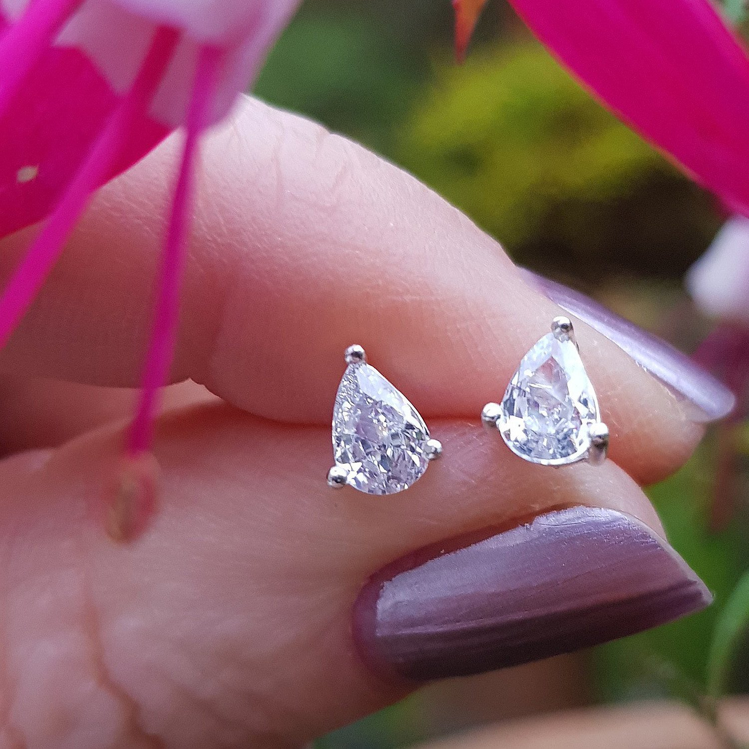 Teardrop cubic zirconia silver earrings - 5mm x 6.5mm - £13.00 from Callibeau Jewellery