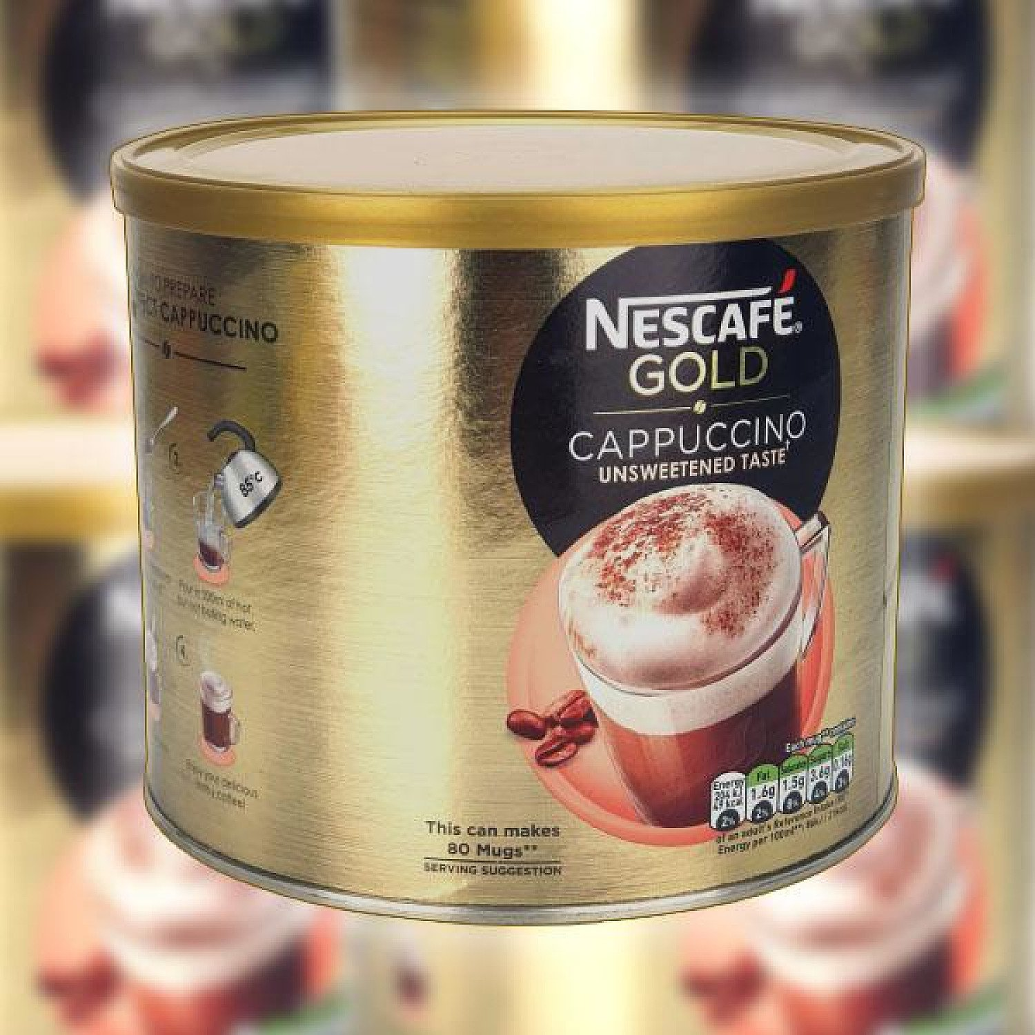 1 X NESCAFE GOLD CAPPUCCINO UNSWEETENED TASTE INSTANT COFFEE 1KG DRUM