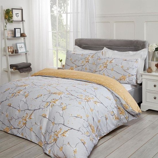 Dreamscene Spring Blossoms Duvet Cover Set - Ochre - Single, Double, King and Super King Free Post