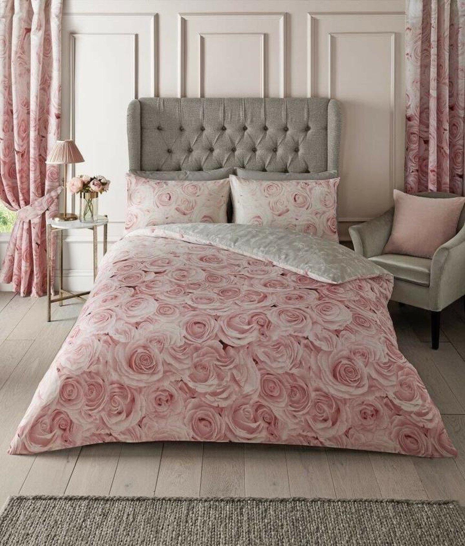 Blush Pink Rose Flower Duvet Set Reversible Grey Quilt Cover - Single, Double, King and Super King