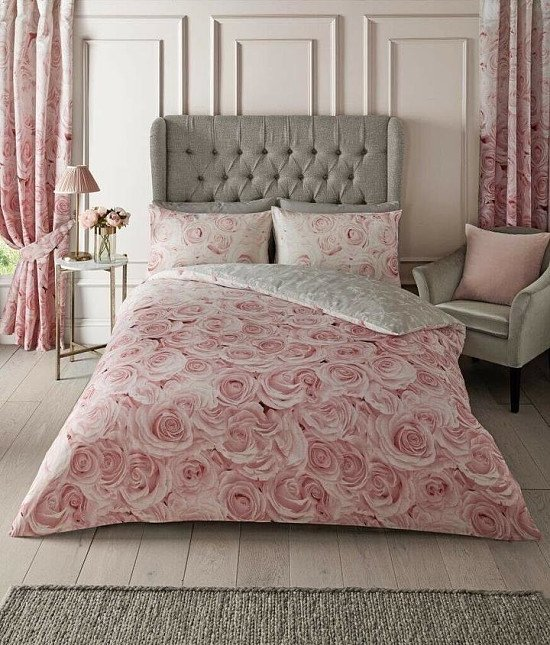 Blush Pink Rose Flower Duvet Set Reversible Grey Quilt Cover - Single, Double, King and Super King