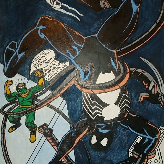 Black spider man and doctor octopus during thid pandemic acrylic painting