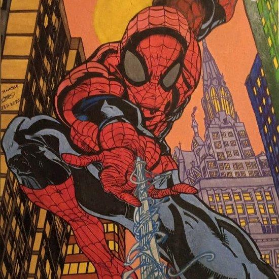 Spiderman acrylic painting on canvas
