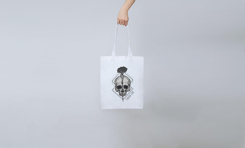 Flower Skull Tote Bag