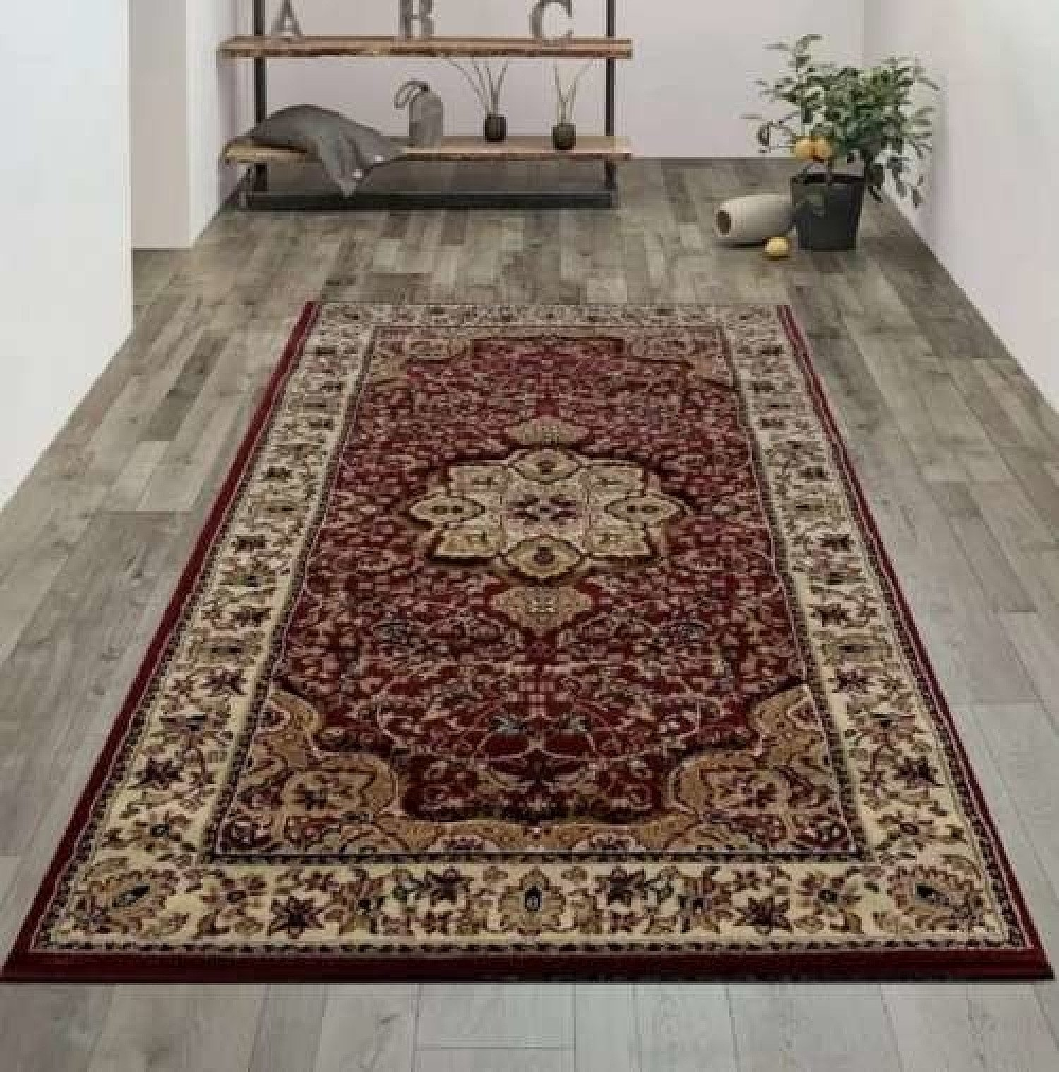 The Traditional Collection (120x170cm) BURGANDY Rug Free Postage