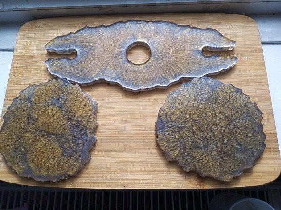 Wine glass holder and 2 coasters - set