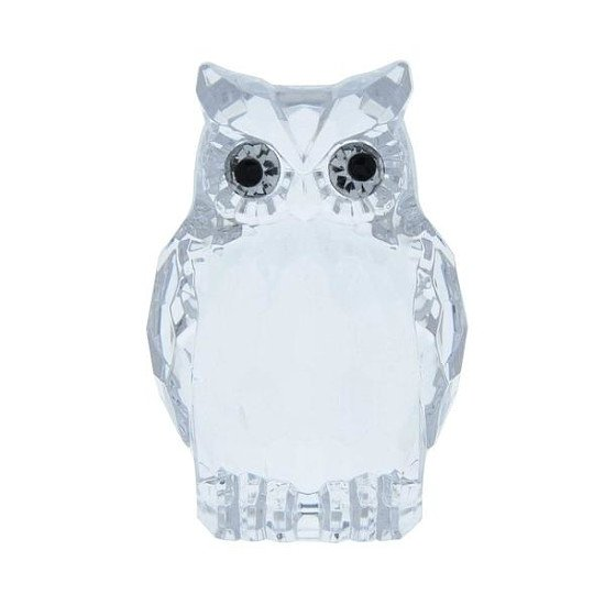 Large Acrylic Owl Two Tone Clear Ornament | 8.5cm