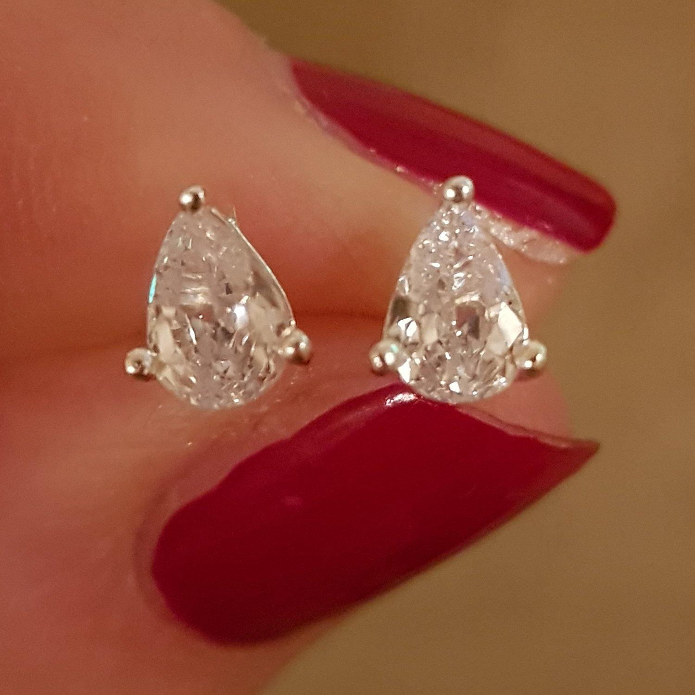 Teardrop cubic zirconia silver stud earrings - 5mm x 6.5mm - £13 - Free delivery