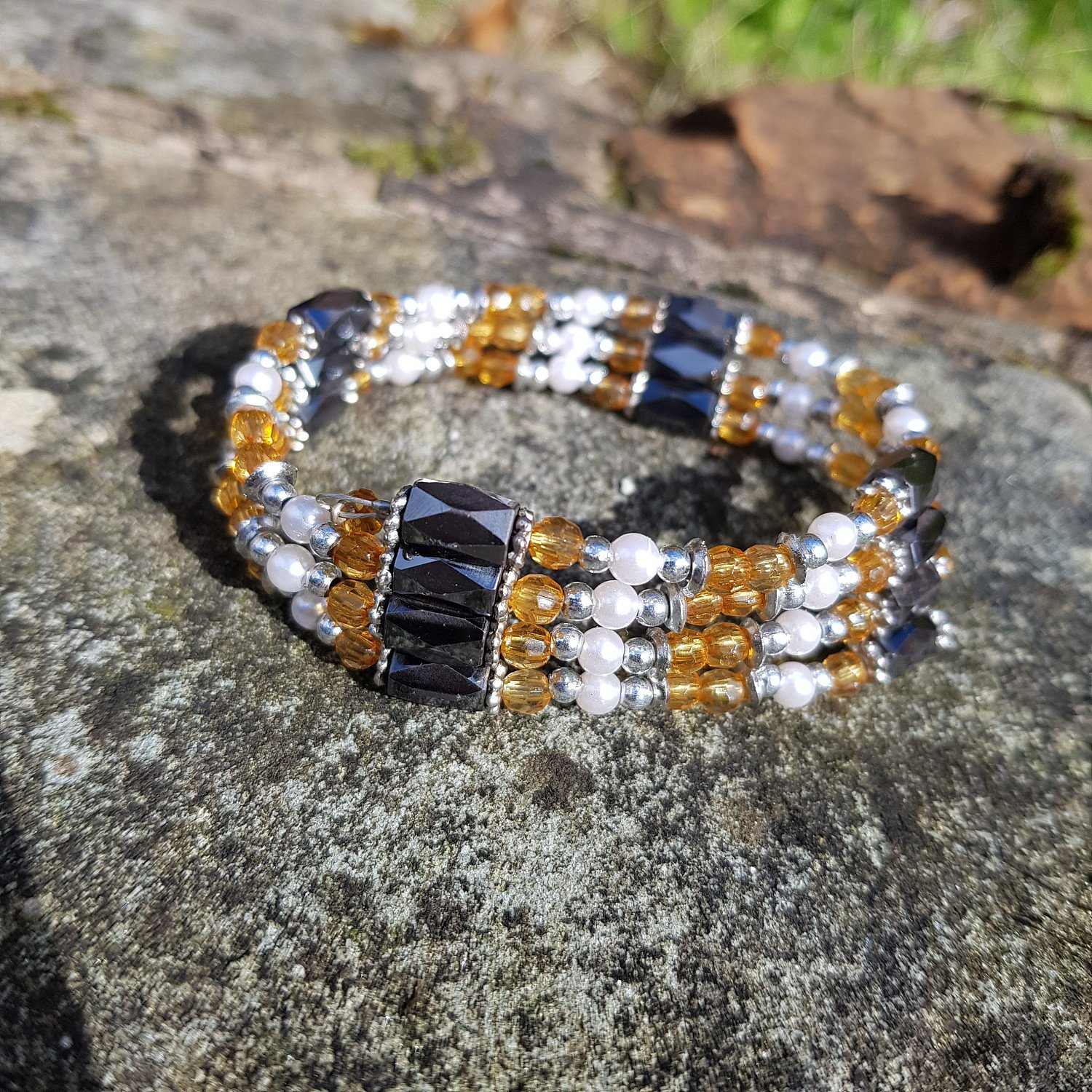 Magnetic hematite and citrine bead chain. Can be worn as necklace or bracelet - ONLY £14.95