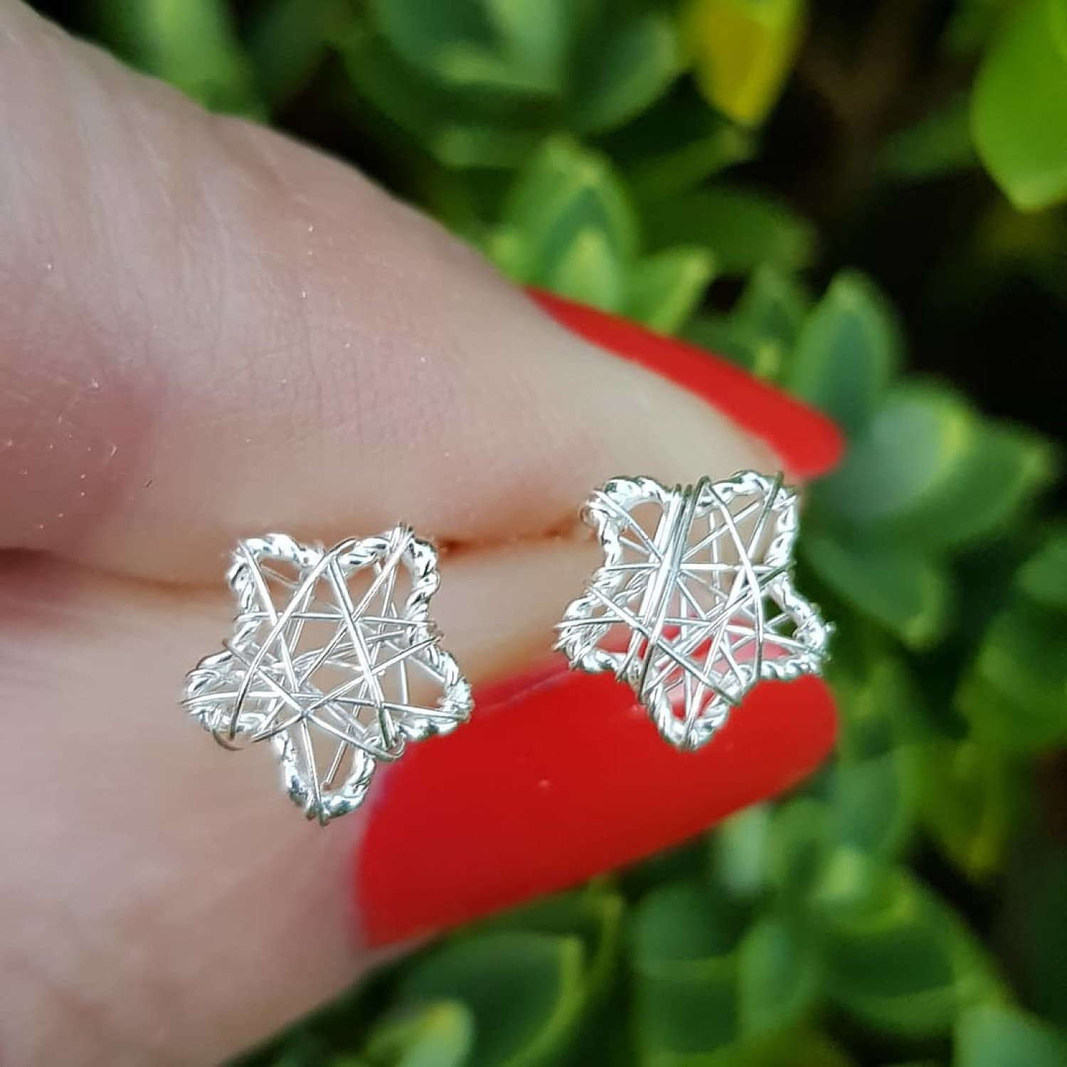 Silver, star weave stud earrings. 8mmx8mm. 0.55g - ONLY £9.50 from Callibeau Jewellery