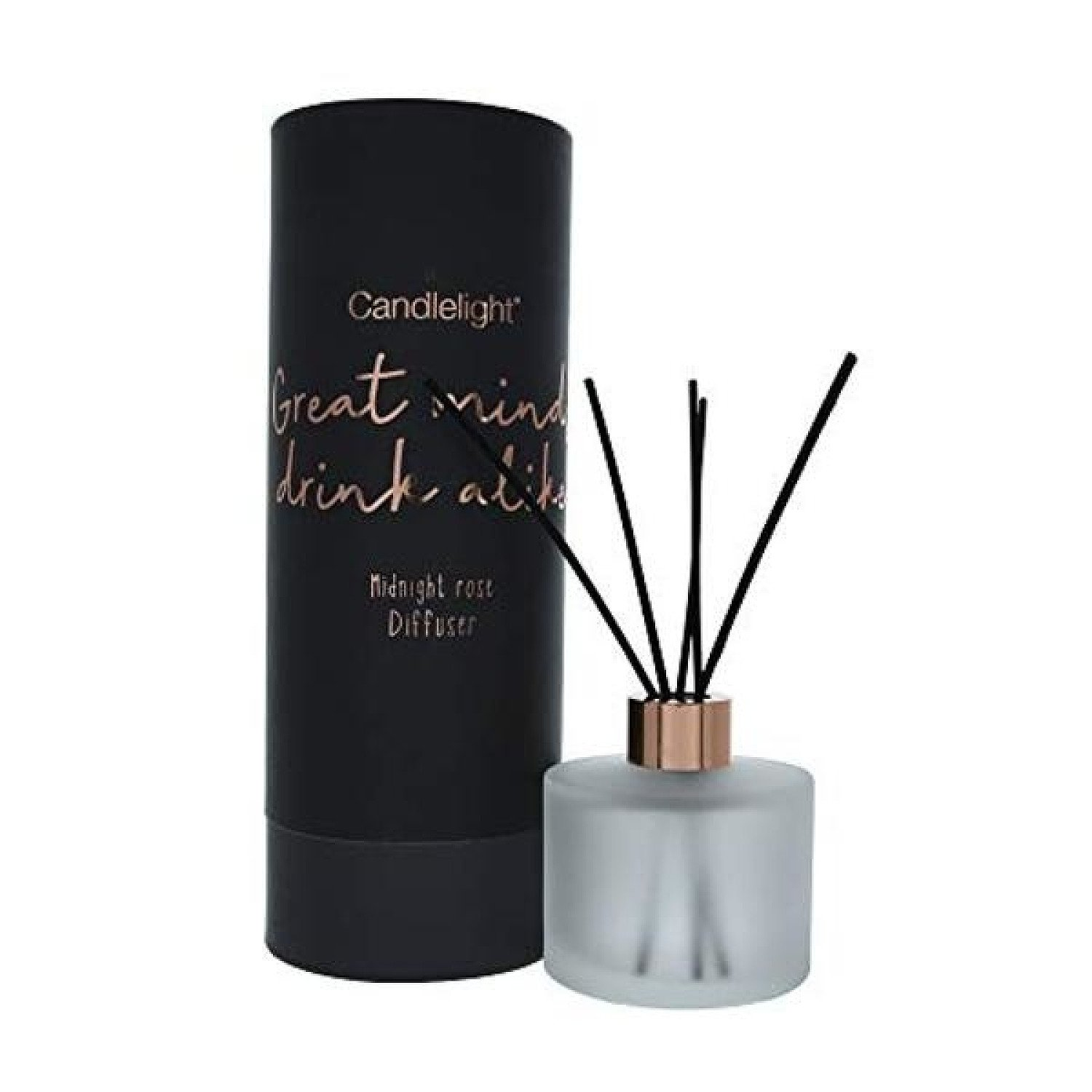 150Ml Reed Diffuser In Round Tube 'Great Minds Drink Alike' - Midnight Rose Scent