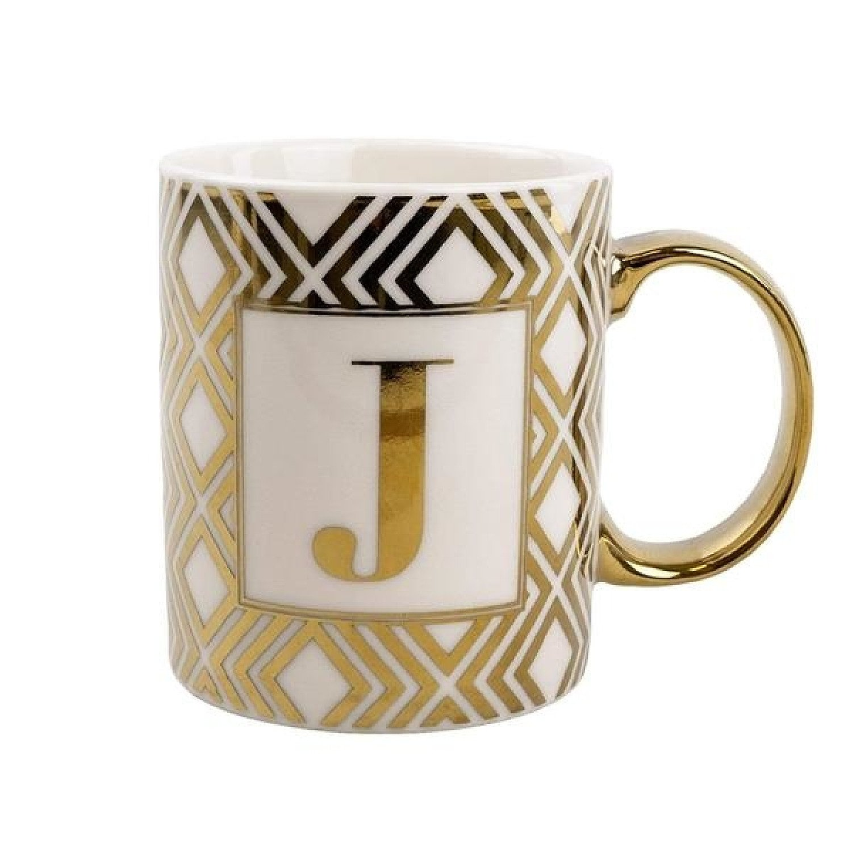 Mug Initial J Gold Patterned