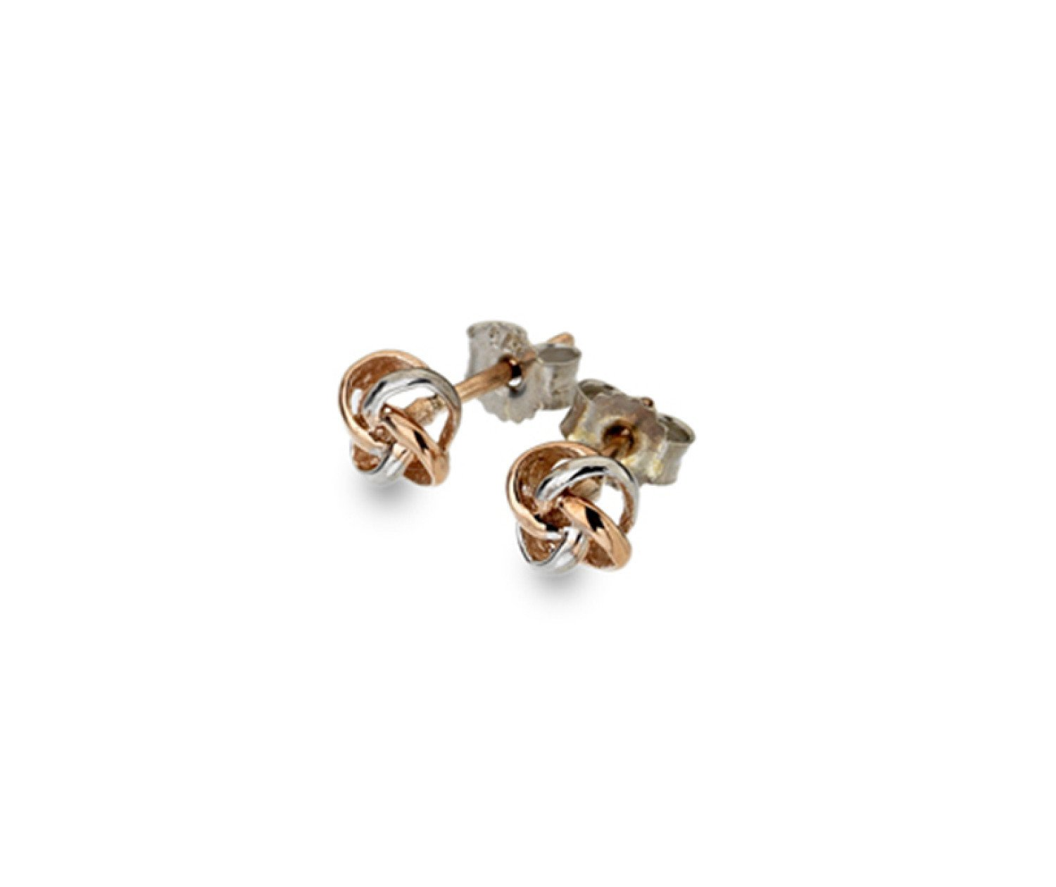 9ct rose & white gold, 3D knot stud earrings from Callibeau Jewellery only £55