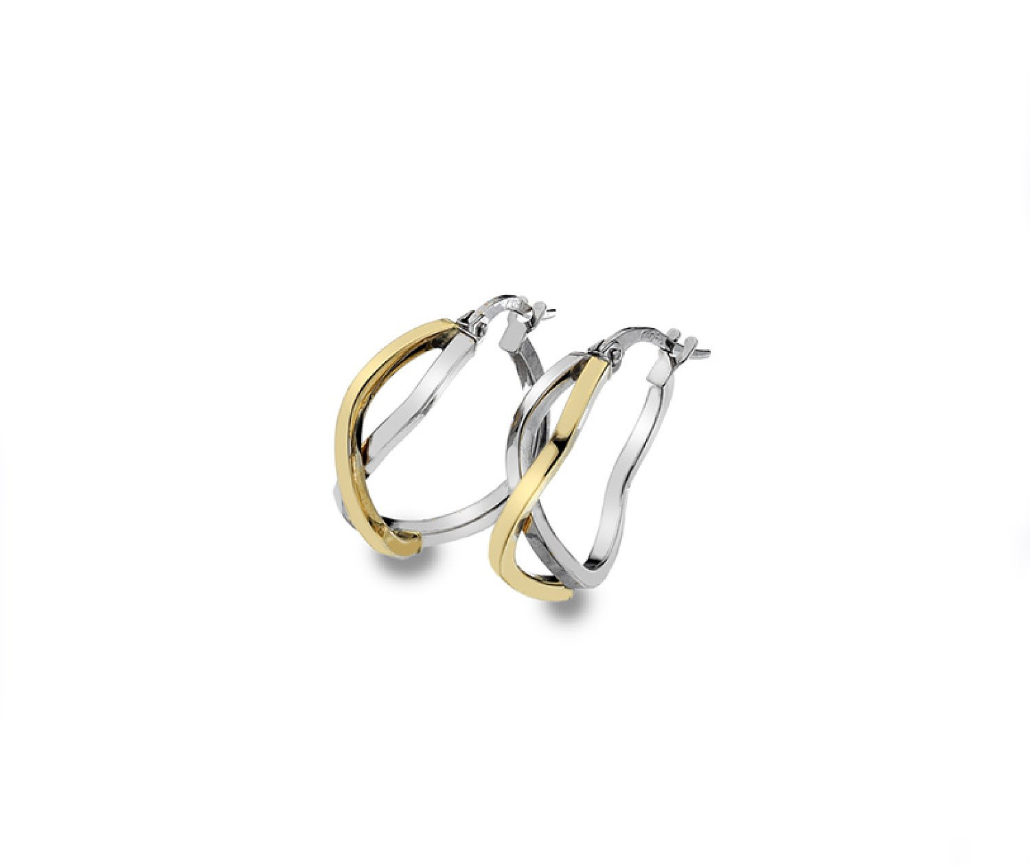 9ct yellow & white gold 15mm crossover hoop earrings from Callibeau Jewellery