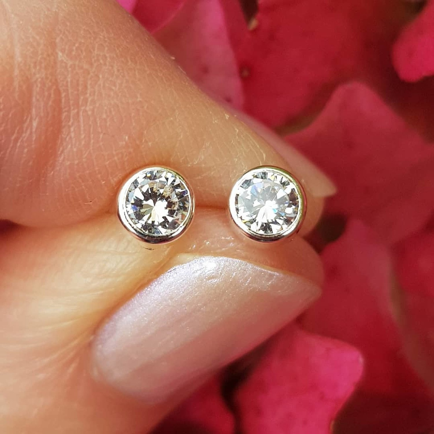 Silver cubic zirconia, 4.5mm circle stud earrings - £19 free delivery - from Callibeau Jewellery
