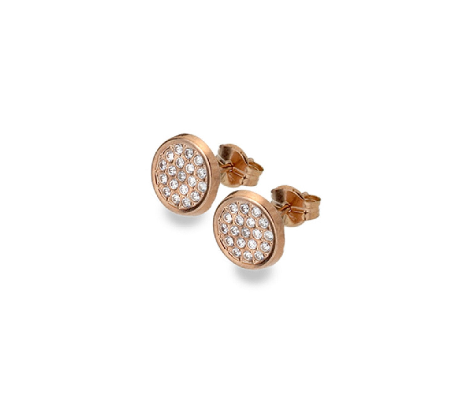 9ct rose gold, multi cubic zirconia set disc stud earrings from Callibeau Jewellery