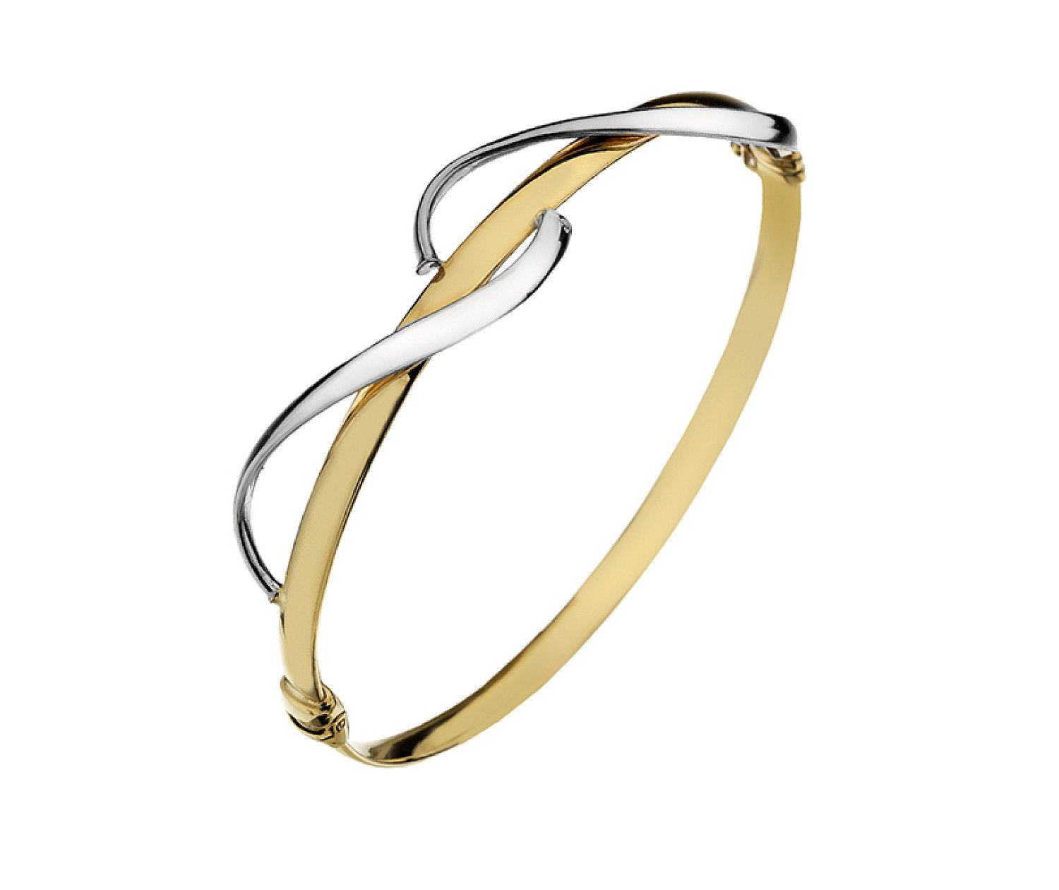 9ct yellow & white gold, wave detail hollow bangle from Callibeau Jewellery