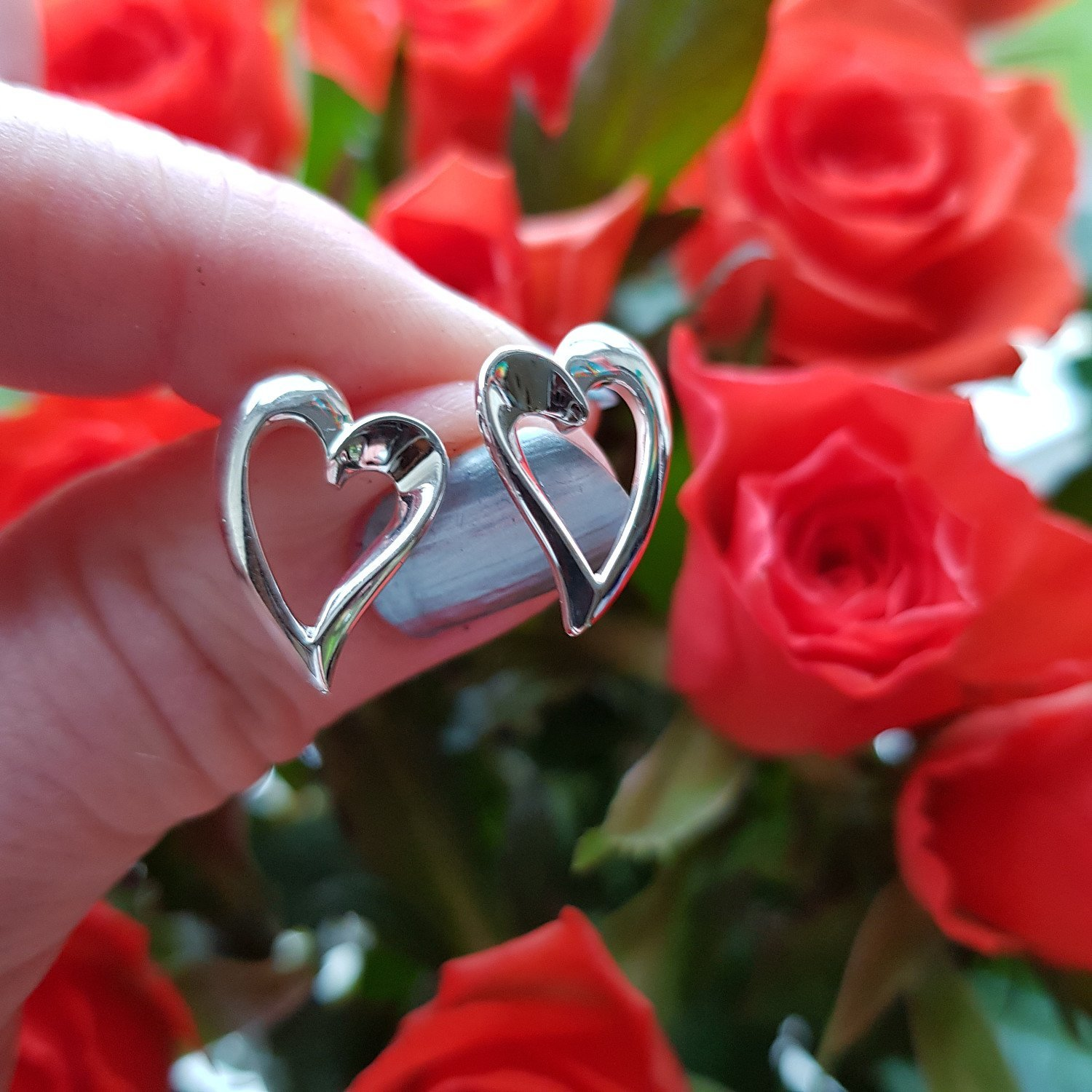 Silver heart outline earrings from Callibeau Jewellery only £24.50, boxed - free UK delivery