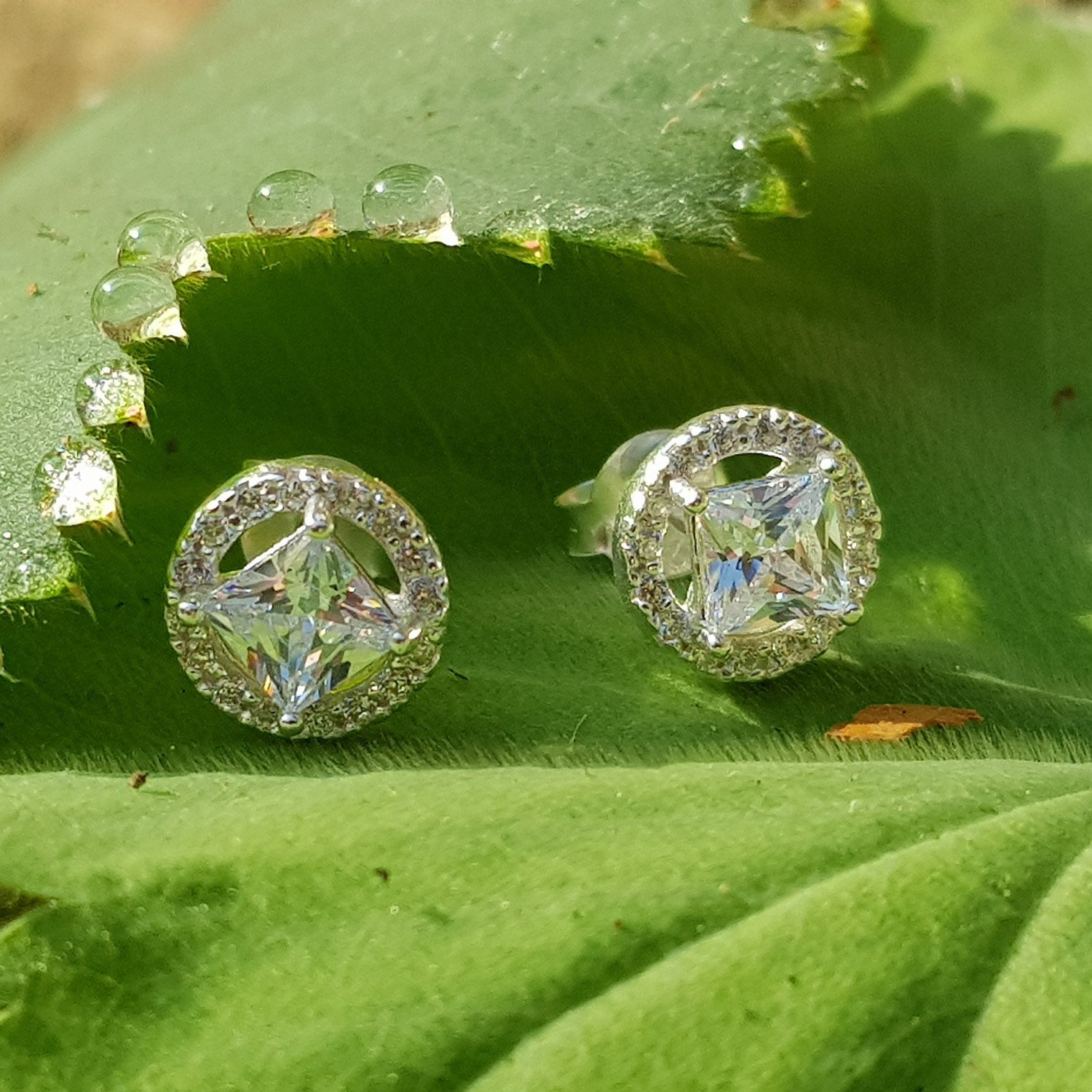 Geometric silver cubic zirconia studs - 8mm x 8mm - ONLY £23 - Free UK delivery