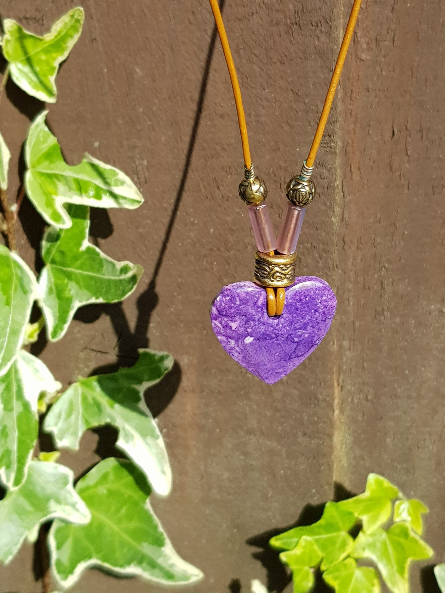 "Unique, handmade, 16"" leather necklace with purple heart stone and beads - £17.50 Free UK dellivery"