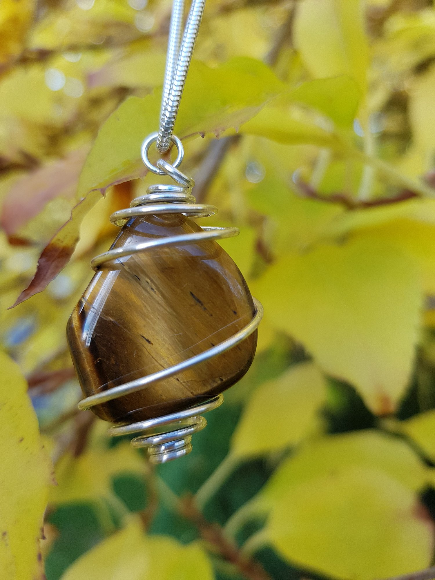 """Unique, handmade, spiral set Tiger Eye stone on 18"""" silver chain - ONLY £22.50 - free UK delivery"""