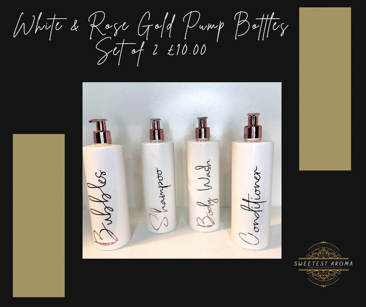 White & Rose Gold Pump Bottles - Set of 2