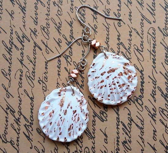 Handmade rose gold shell earrings