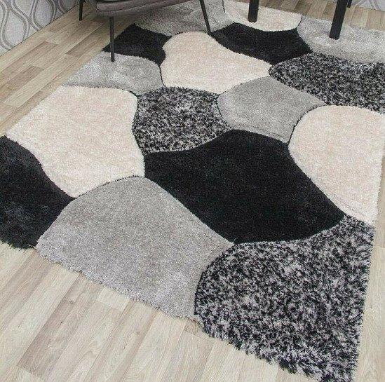 Grey Black 3D Shaggy Rug 120x170 Thick Soft 50mm Deep Flokati Pile Contemporary- Grey