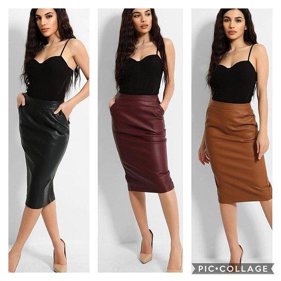 Vegan Leather Midi Pencil Skirt