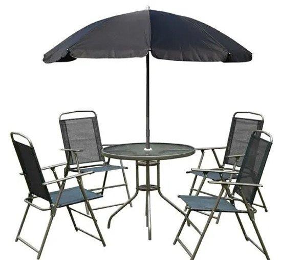 6 Piece Garden bistro set with parasol