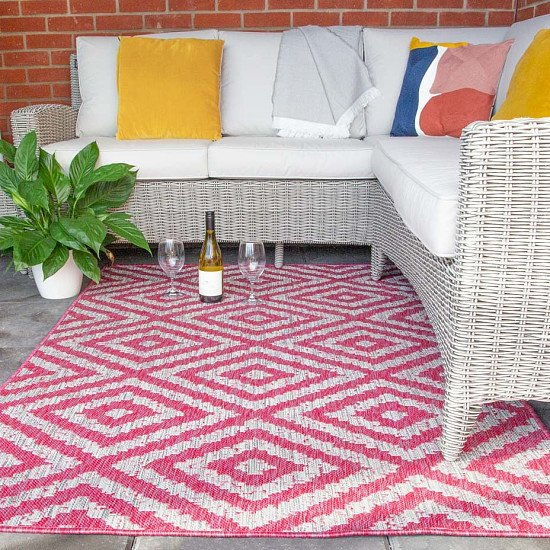 SAVE 20% - Vibrant Pink Geometric Indoor Outdoor Rugs - Habitat!