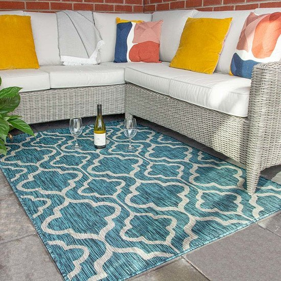 Get your garden ready for the ease of restrictions - Blue Trellis Indoor Outdoor Weatherproof Rugs!