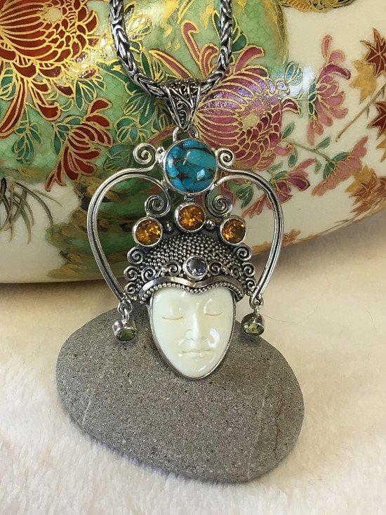 Gemstone Necklace Sterling Silver