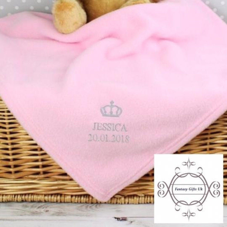 Personalised Pink Crown Baby Blanket