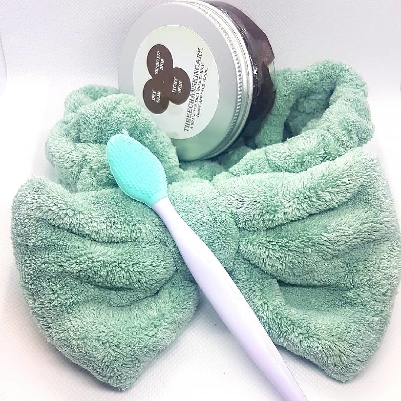 Brown sugar body and face scrub, spa headband, face scrubber set