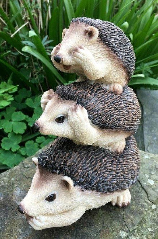 Garden Pals Hedgehogs Stacked Cute Garden Ornament Figure