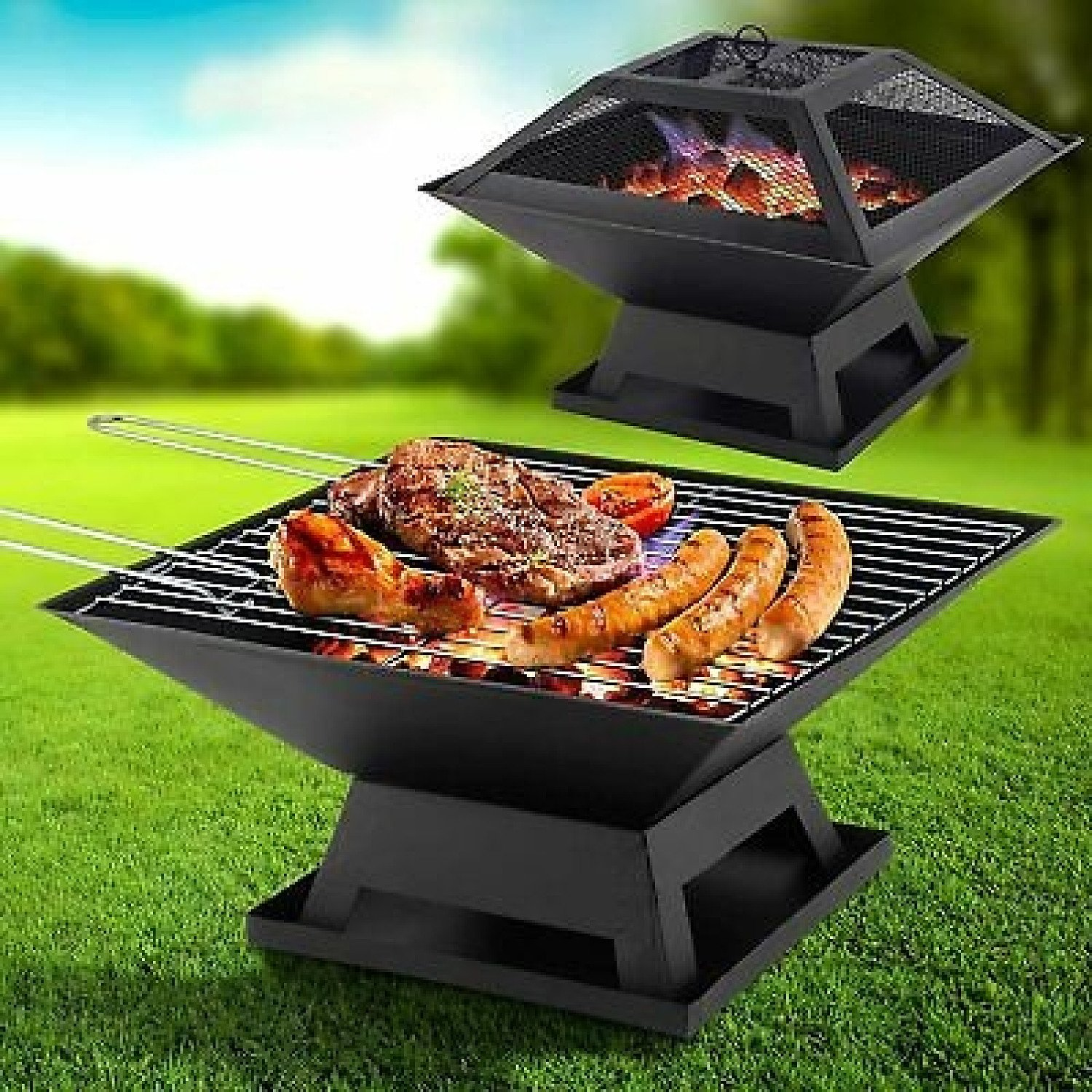 Square Fire Pit and BBQ Grill