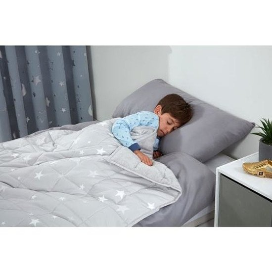 Kids Star Teddy Fleece Weighted Blanket - Silver Grey