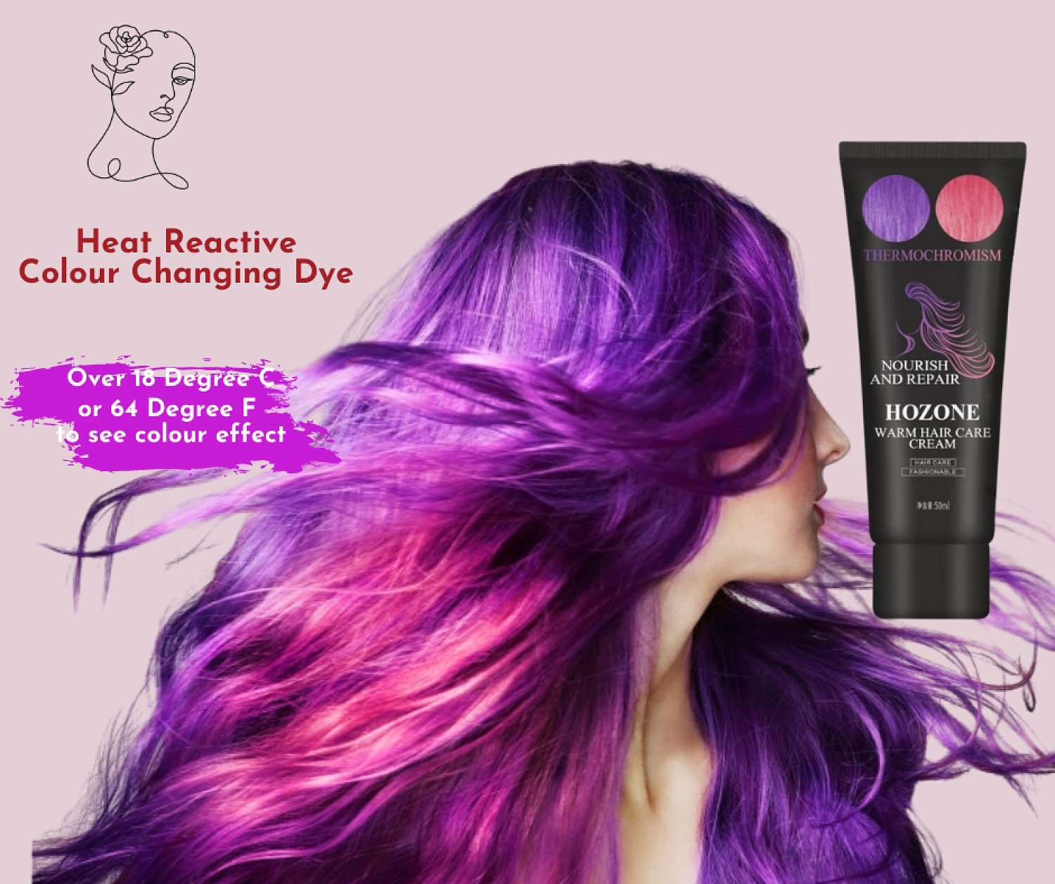 Heat Reactive Colour Changing Hair Dye