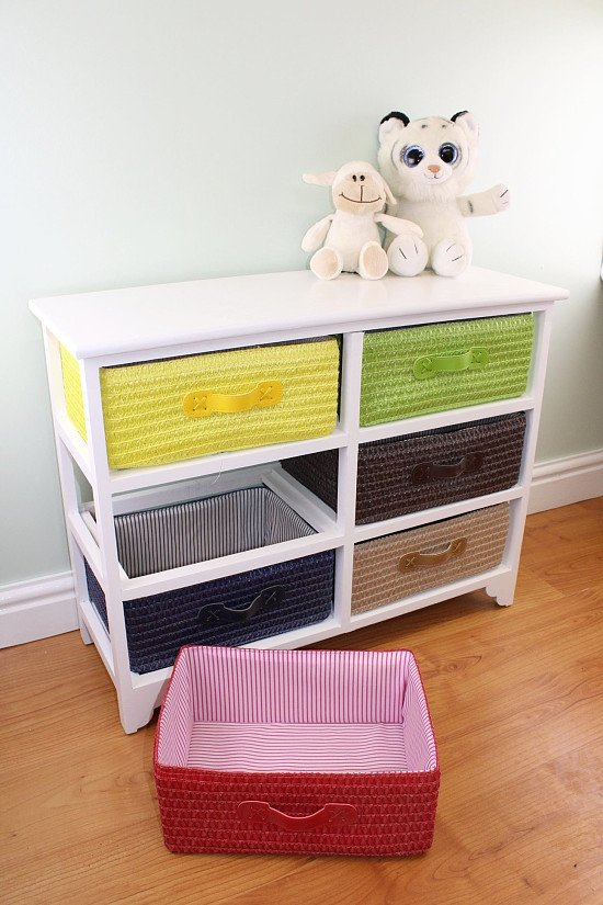 Multi Coloured White 6 Drawer Children's Storage Unit with Baskets