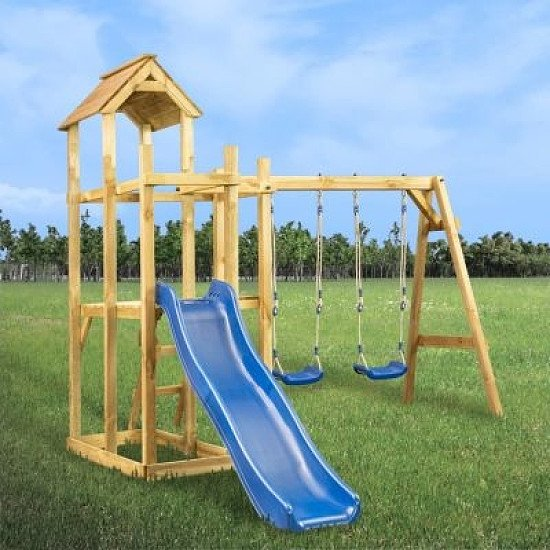 PLAYHOUSE WITH SLIDE, SWING AND LADDER