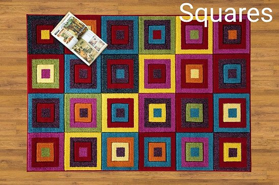 Multi Colour Floor Area Rug Runner Stain Resistant - Squares Bright *SAVE 10%*