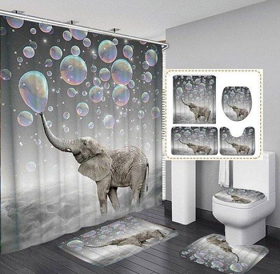 CUTE 3D BUBBLES ELEPHANT 4 PIECE BATHROOM SET