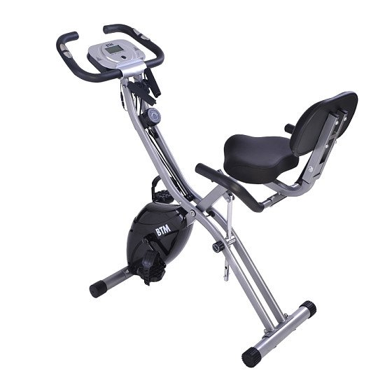 BTM G500 Foldable X-Bike Indoor Training Aerobic Exercise Bike with Flywheel & Arm Resistance Band(B