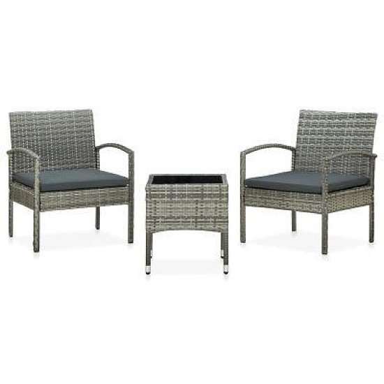 3 PIECE BISTRO SET WITH CUSHIONS POLY RATTAN GREY