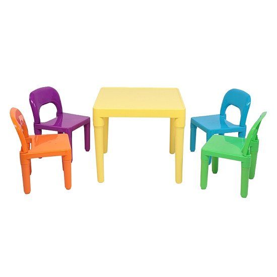 5 in 1 Children Plastic Table + 4 Chairs Set, Table Size: 19.7 x 19.7 x 18.1 inch, Chair Size: 17.72