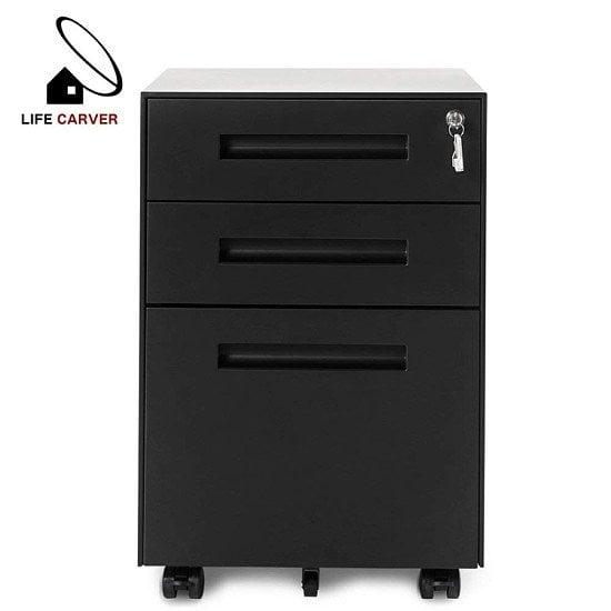 Mobile Multifunctional File Organizing Drawer Cabinet with Lock (Black)