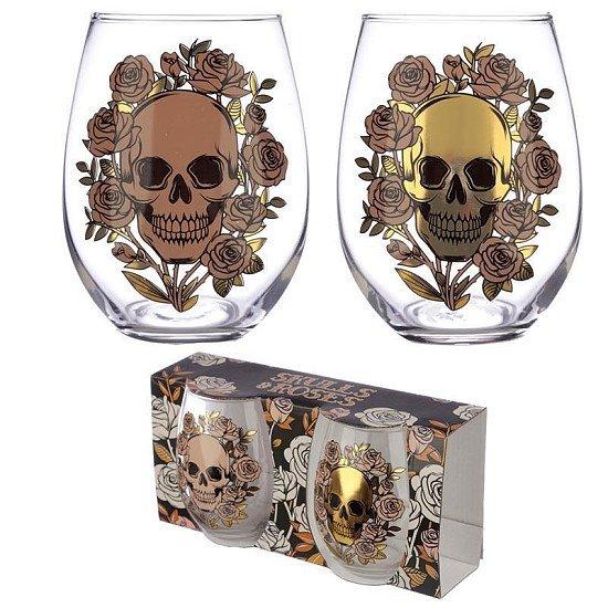 SKULLS & ROSES GLASS TUMBLER SET OF 2