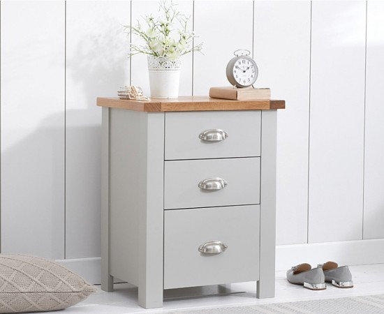 SALE - Somerset Oak and Grey Tall 3 Drawer Bedside Table!